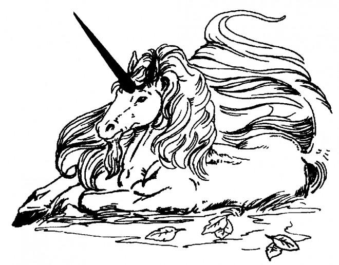 Coloriage et dessins gratuits La Licorne se repose à imprimer