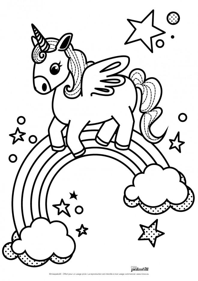 Coloriage et dessins gratuits Licorne arc en ciel en vecteur à imprimer