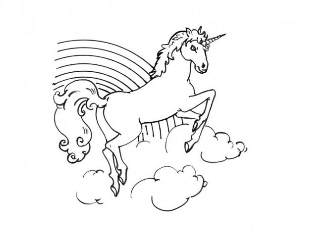 Coloriage et dessins gratuits Licorne arc en ciel imaginaire à imprimer