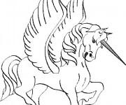 Coloriage Licorne avec des ailes