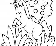 Coloriage Licorne en sautant