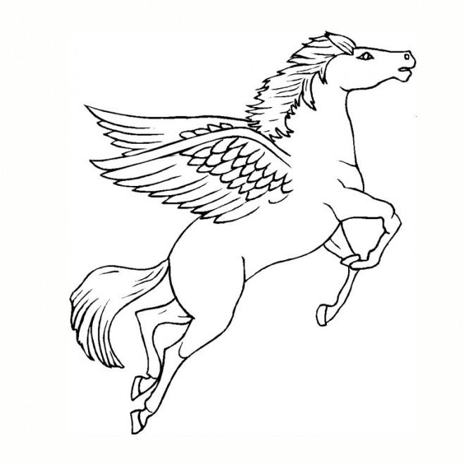 Coloriage et dessins gratuits Licorne en volant à imprimer