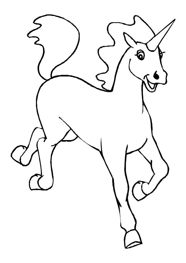 Coloriage et dessins gratuits Licorne heureuse à imprimer