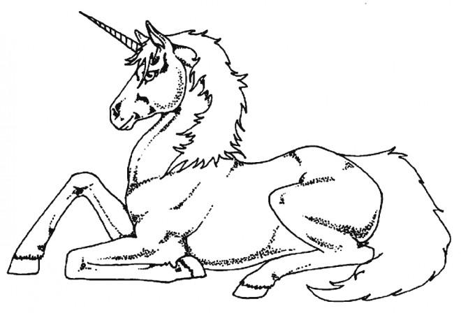Coloriage et dessins gratuits Licorne magique assise à imprimer
