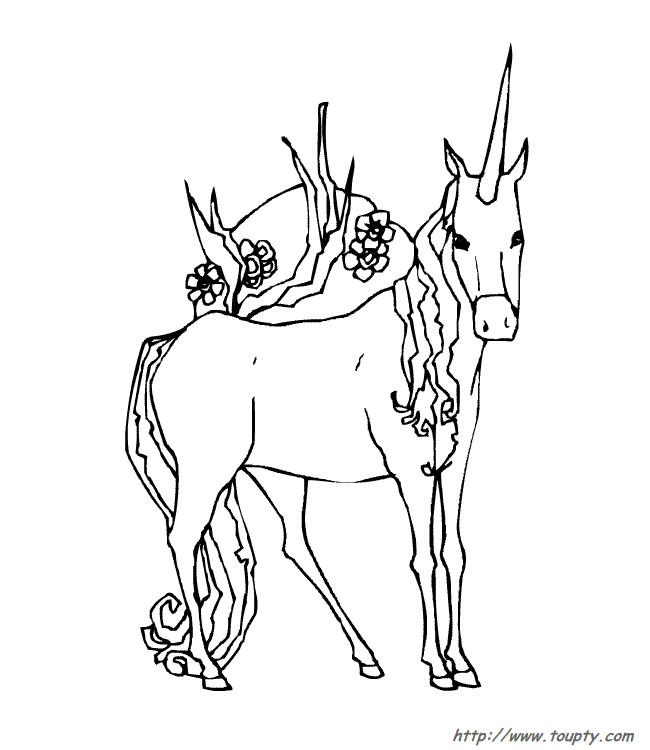 Coloriage et dessins gratuits Licorne simplifié à imprimer