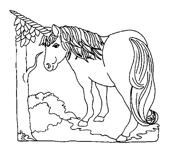 Coloriage et dessins gratuits Licorne sous L'Arbre à imprimer