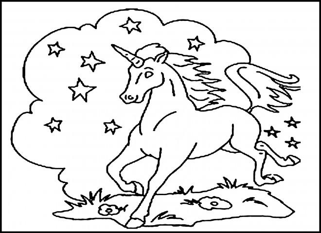 Coloriage et dessins gratuits Peinture Licorne parmis les étoiles à imprimer