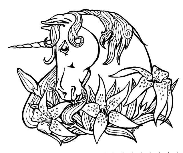 Coloriage Tête De Licorne Artistique Dessin Gratuit à Imprimer