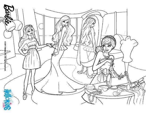 Coloriage et dessins gratuits Barbie au Magasin  Pour Fille à imprimer