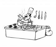 Coloriage et dessins gratuit Cuisinier et le plaisire de son travail à imprimer