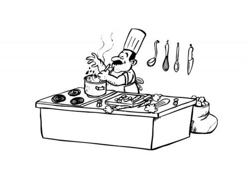 Coloriage et dessins gratuits Cuisinier et le plaisire de son travail à imprimer