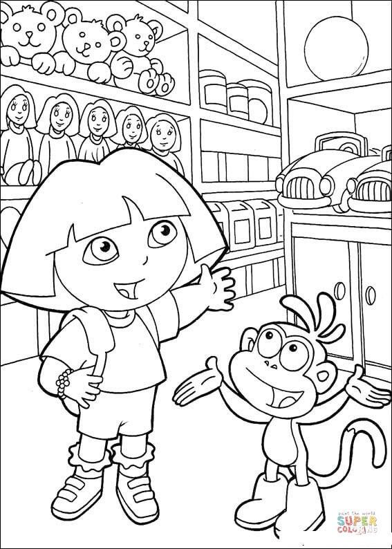 Coloriage Dora au Magasin de Jouets dessin gratuit à imprimer