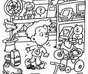 Coloriage et dessins gratuit Enfant dans Le Magasin de Jouets à imprimer
