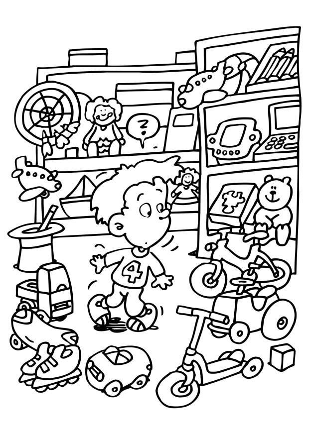 Coloriage et dessins gratuits Enfant dans Le Magasin de Jouets à imprimer