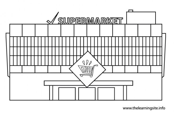 Coloriage et dessins gratuits Façade d'un supermarché à imprimer