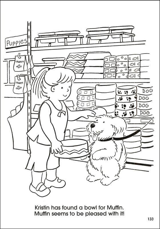 Coloriage et dessins gratuits Kristin achète une Gamelle pour son Chien à imprimer