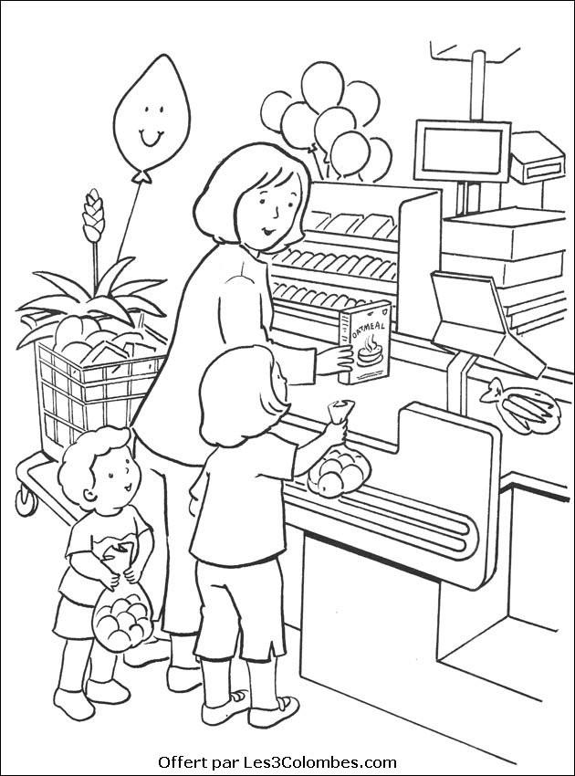 Coloriage et dessins gratuits La Famille au Magasin à imprimer