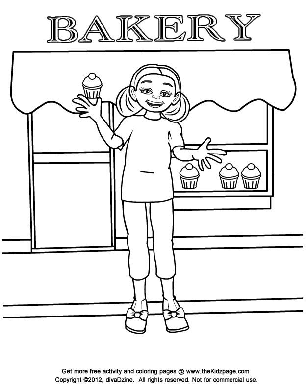 Coloriage et dessins gratuits La fille devant La Boulangerie à imprimer
