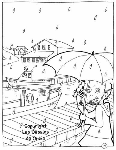 Coloriage et dessins gratuits La souris sous La Pluie à imprimer