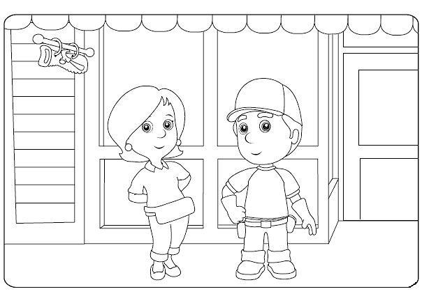 Coloriage et dessins gratuits Le Petit Bricoleur devant son Magasin à imprimer
