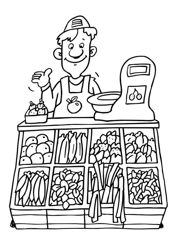 Coloriage et dessins gratuits Le Vendeur De Légumes à imprimer