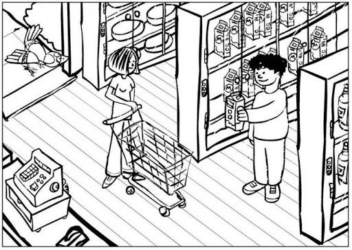 Coloriage et dessins gratuits Les Clients dans Le Supérette pour acheter à imprimer