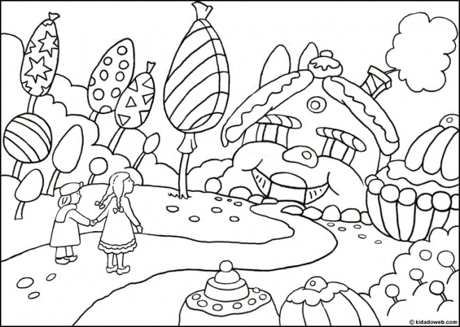 Coloriage et dessins gratuits Les Enfants et Les Bonbons partout à imprimer