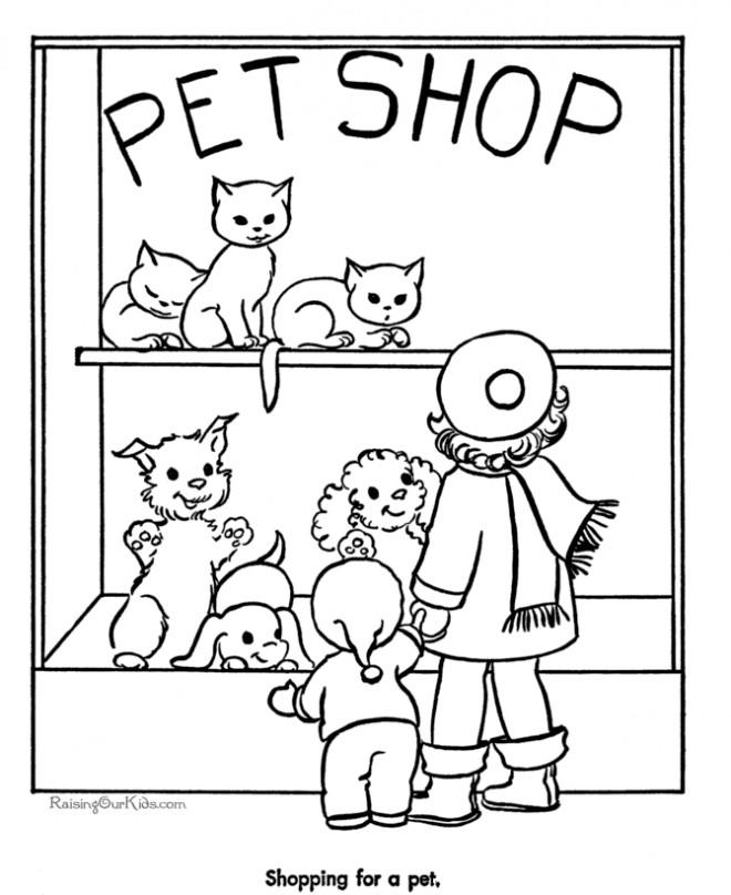 Coloriage et dessins gratuits Magasin d'animaux à imprimer