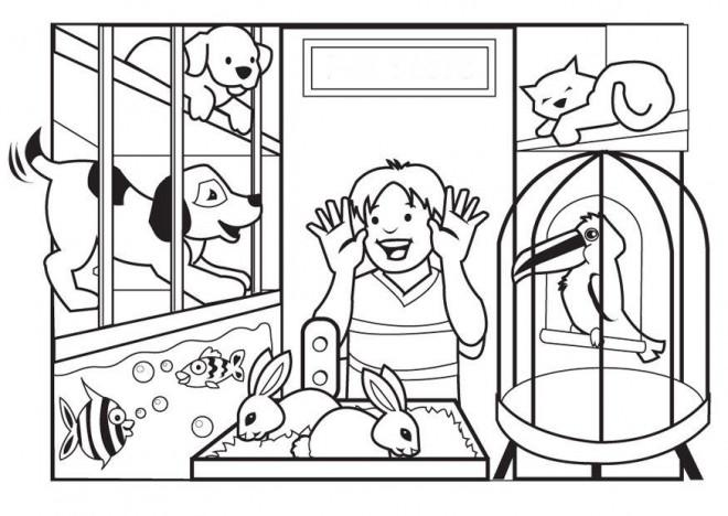 Coloriage et dessins gratuits Magasin d'animaux  vectoriel à imprimer