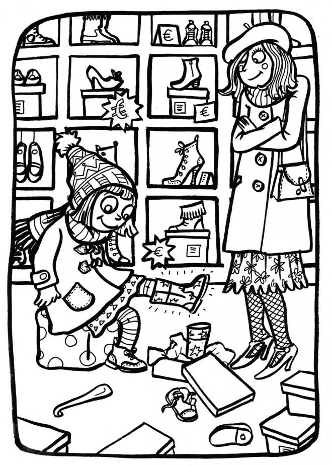 Coloriage et dessins gratuits Magasin de Chaussures à imprimer