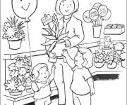 Coloriage et dessins gratuit Magasin de Fleurs à imprimer