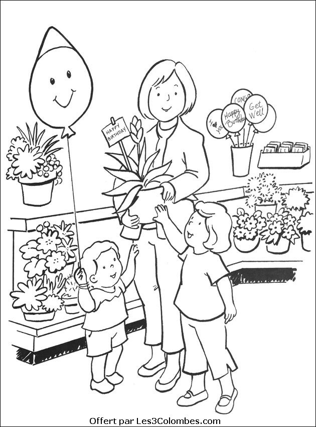 Coloriage et dessins gratuits Magasin de Fleurs à imprimer