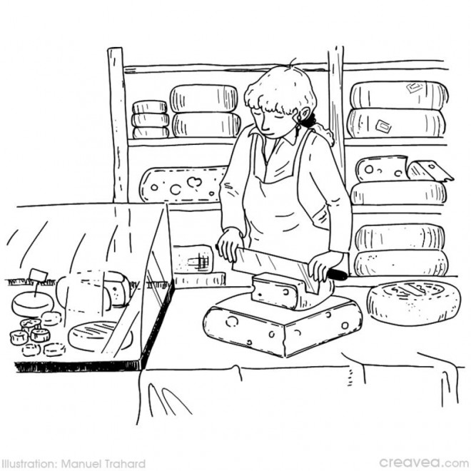 Coloriage et dessins gratuits Magasin de Fromage à imprimer