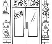 Coloriage et dessins gratuit Magasin de Jouets en promotion à imprimer