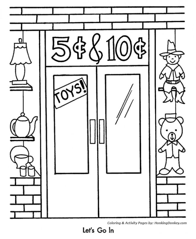 Coloriage et dessins gratuits Magasin de Jouets en promotion à imprimer