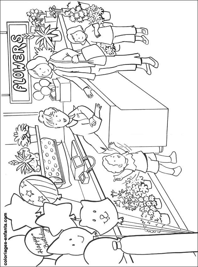 Coloriage et dessins gratuits Maman au Magasin pour acheter des Fleurs à imprimer