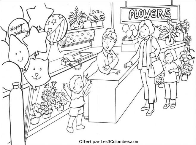 Coloriage et dessins gratuits Un Fleuriste en couleur à imprimer