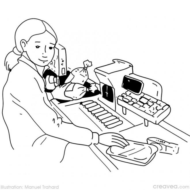 Coloriage et dessins gratuits Une caissière à imprimer