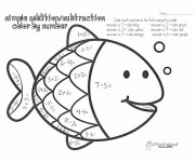 Coloriage Addition Poisson simple