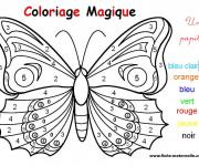 Coloriage et dessins gratuit Papillon Magique Chiffres à imprimer