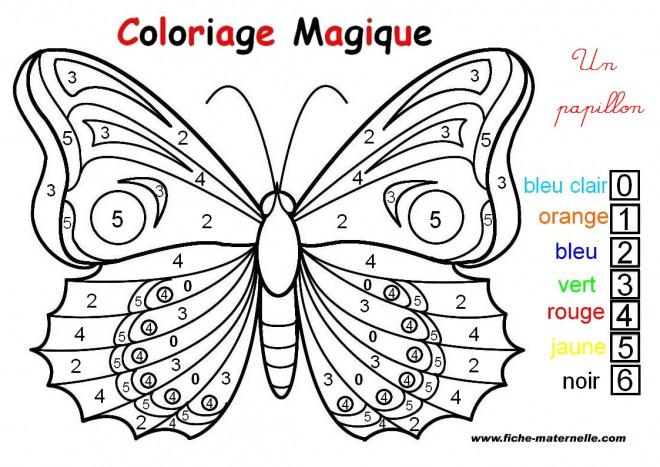 Coloriage papillon magique chiffres dessin gratuit imprimer - Papillon dessin couleur ...