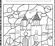 Coloriage et dessins gratuit Magique Facile Château à imprimer