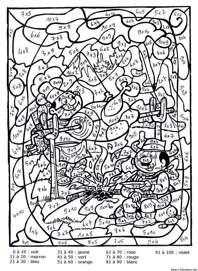 Coloriage Magique Multiplication dessin gratuit à imprimer