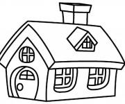Coloriage Cottage avec cheminée