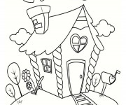 Coloriage Cottage plein d'amour