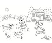 Coloriage Enfants qui jouent à la Campagne