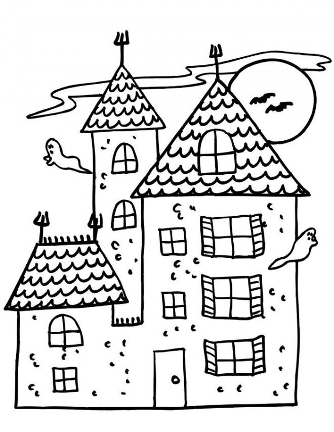 Coloriage et dessins gratuits Les Fantômes autour La Maison à imprimer