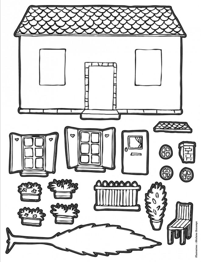 Coloriage et dessins gratuits Maison à assembler à imprimer