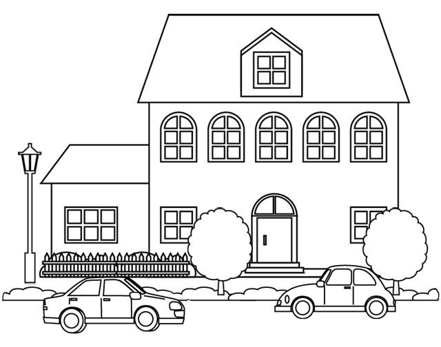 Coloriage Maison à colorier en carton dessin gratuit à imprimer