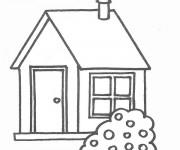 Coloriage Maison avec une cheminée
